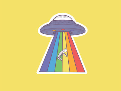 POC'S flaying saucer spaceship ovni space sticker icon logo illustration