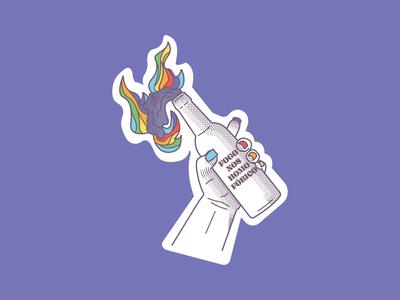 Queer Molotov illustration illustrator brand branding logo icon lgbtq gay rights gay pride gay molotov