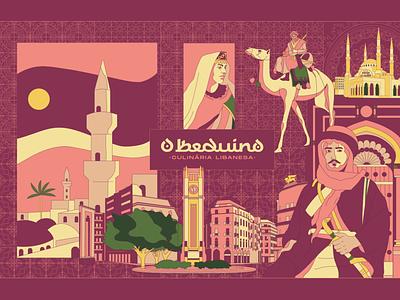 O Beduíno | The Bedouin beirut camel branding and identity branding visual identity lebanon bedouin arabic logo restaurant arabic illustration