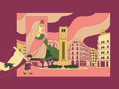 Ilustração O Beduíno postcard beirut lebanon arabic branding drawing vector illustration
