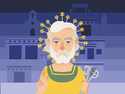 Saint Peter, the Guardian of Heaven character pernambuco brazil charactedesign charachters mikoko vector illustration drawing