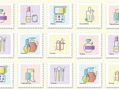 Nalu postage stamps app ui brand character logo design icon branding drawing mikoko vector