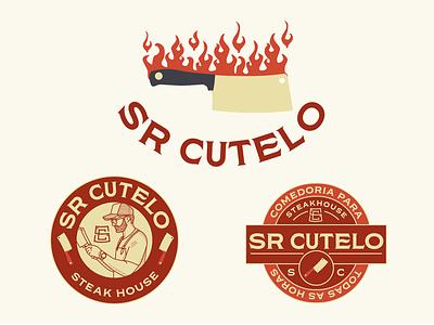 Sr Cutelo Assets monogram crest logo emblem steak house steakhouse typography brand design logo icon branding brazil drawing mikoko illustration vector