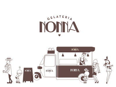 Gelateria Nonna brazil artdeco logotypedesign logotype typography character brand design icon logo branding drawing mikoko vector illustration