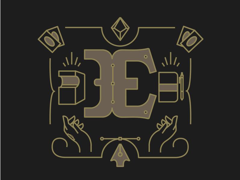 E typography lettering design logo icon branding drawing illustration mikoko vector