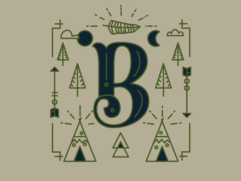 B lettering typography brand design logo icon illustration mikoko vector