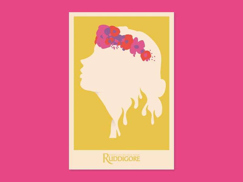 Ruddigore Poster simple screenprint play theatre austin gilbert and sullivan ruddigore