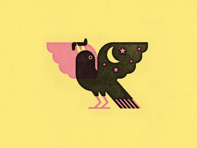 Grackle eating found sausage sausage bird grackle screen print sxsw texas vintage illustration