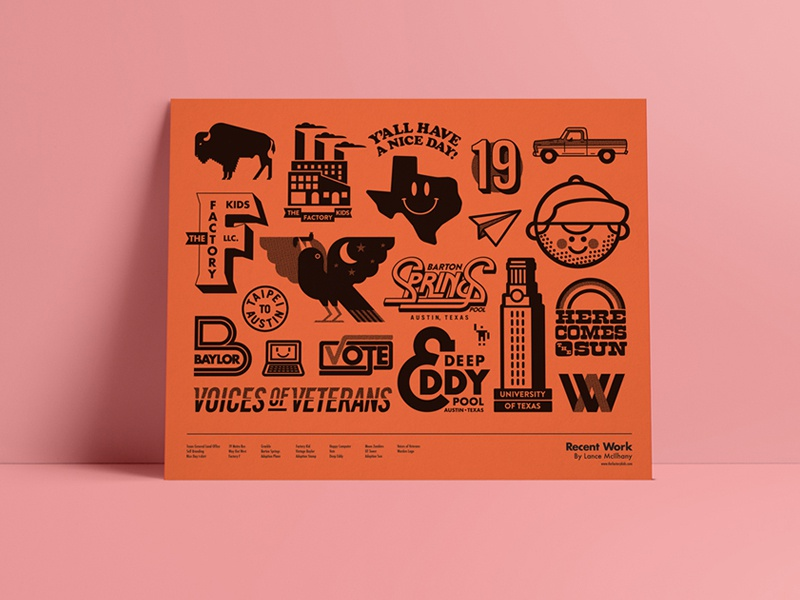 Recent Work poster screenprint branding design vector illustration austin poster logo lock up typography texas