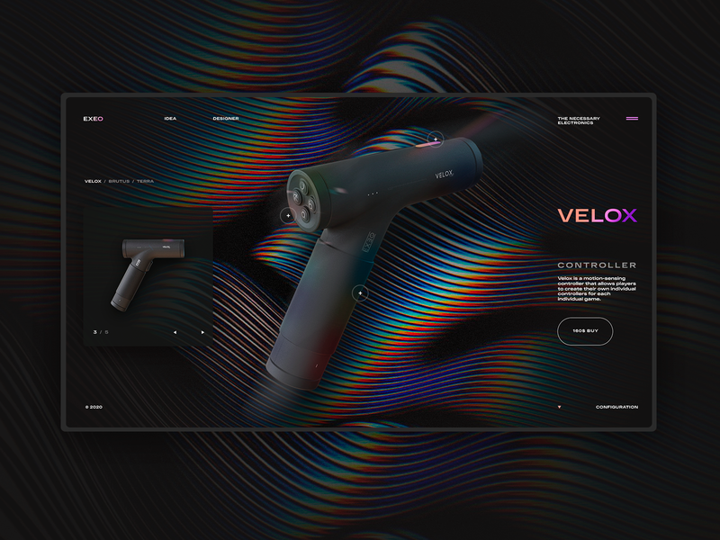 EXEO modular gaming controllers website concept one page interface design landing page ui elements web design webdesign ui  ux ui web design