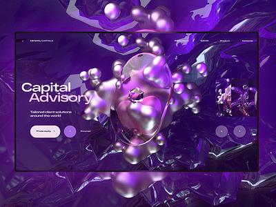 Сrystal Capitals 3d animation cinema4d c4d 3d artist 3d modeling 3d art 3d uidesign one page landing page design ui  ux web design ui