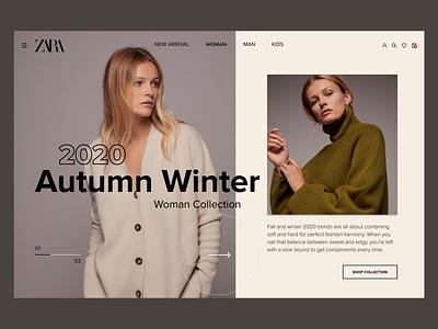 Zara store shopping redesign mainpage woman style fashion store zara ui beauty uidesign concept