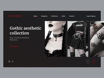 Fantasmas - accessories store black minimalism moda fashion style jewerly gothic aesthetic beauty dark dark ui accessories shop concept store