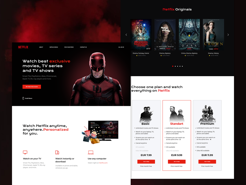 Netflix Landing Page landing page concept daredevil netflix web ux ui design