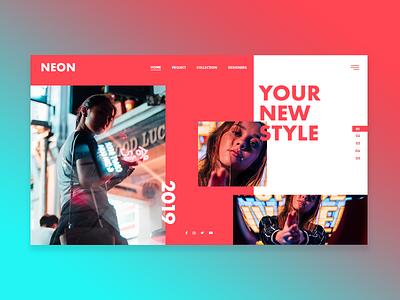Neon fashion magazine beauty ui design concept fashion neon land