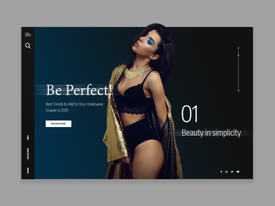 Fashion concept: Be Perfect! valentines day valentine day style underwear girl beautiful fashion landing page web uidesign ui design concept