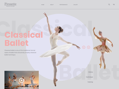 Ballet studio home page ballerina art passion home page web uidesign beautiful dance dance studio ballet