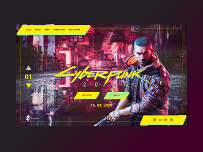 Cyberpunk 2077 game landing page web main page product page uidesign uiux interface desktop character cyberpunk 2077 cyberpunk concept
