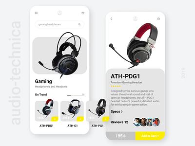 Mobile App for Audio-technica store music audio-technica audio store concept app headphones website webdesign ui  ux mobile mobile app