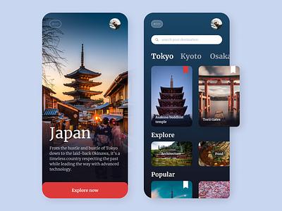 Travels in Japan (travel app) concept tokyo japanese culture japan travel app traveling travel app mobile app mobile uidesign uiux