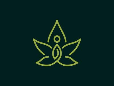 People Meditation And Marijuana Leaf Logo Design