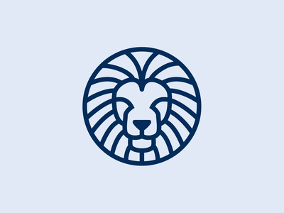 Circle Shield Lion Head Logo Designs