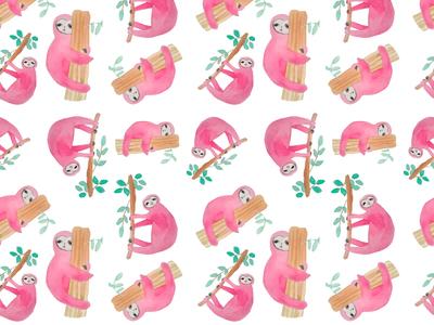 pink sloths pattern in watercolor
