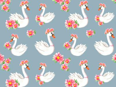 Baby swan with flowers coronal art print