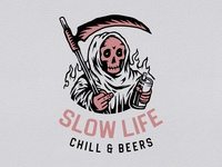 Slow Life adventure branding fire skulls sketch chill life beers skull design vector logo illustration