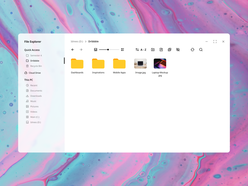 Windows File Explorer (Concept) dark light file manager figma concept design concept file explorer windows 10 blur windows ux ui flat vector minimal design