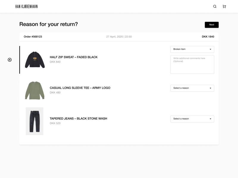 Return an Item shopping orders apparel clothing refund return figma web ux ui flat vector minimal design