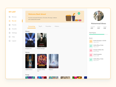 My List tv shows films movies song music media dashboard web illustration ux ui vector minimal design