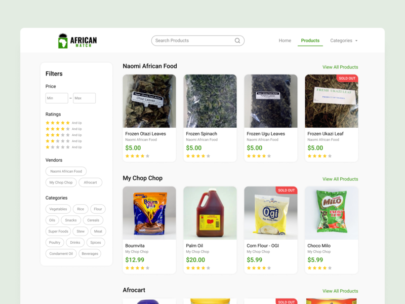African Match vendor price shop products food grocery africa website web ux ui flat vector minimal design