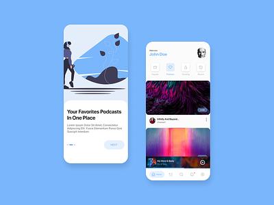 Podcast Design (Concept) music player figma onboarding storyboarding media music podcast concept design illustration app ux ui flat vector minimal design