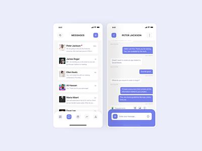 Messages mobile app concept design figma managment social network social message chat app ux ui flat minimal design