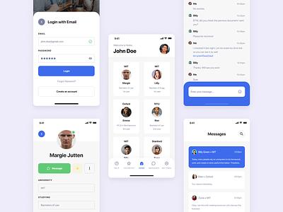 Social Media App for Students chat students study education mobile ui socialmedia figma ios app ux ui flat vector minimal design