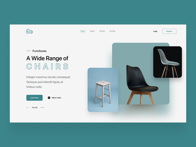 Furniture - Landing Page figma landing page chair office furniture web ui vector minimal design