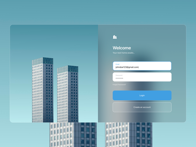 Login building glass figma login page login web ui vector minimal design