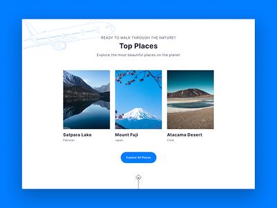 Travel lake desert mountain nature places travel web flat vector minimal design