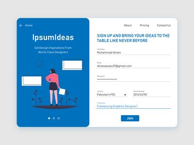Ipsum Ideas SignUp Page
