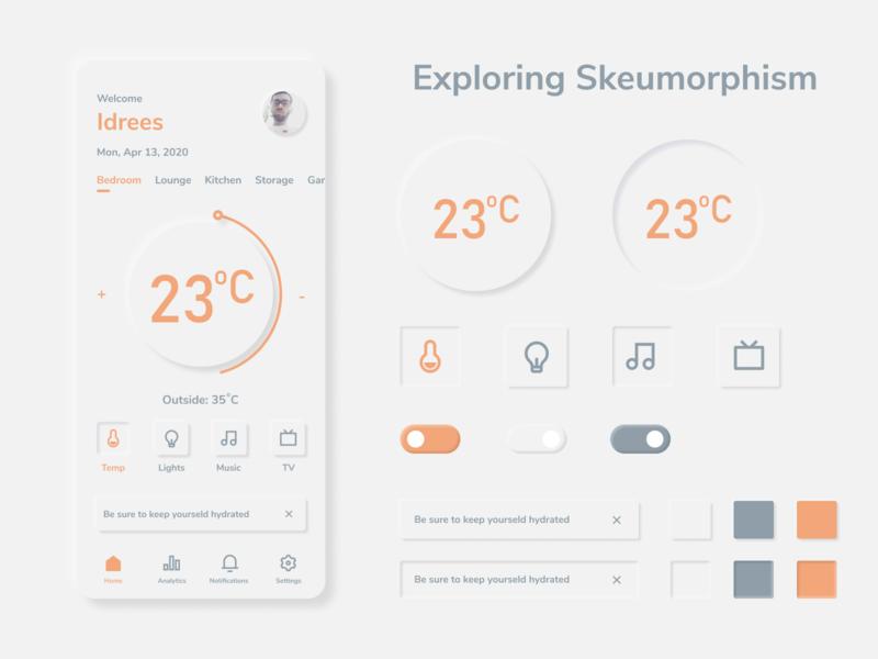 Exploring Skeumorphism temperature weather figma flat smart home automation neumorphism skeumorphism skeuomorph app ux ui minimal design