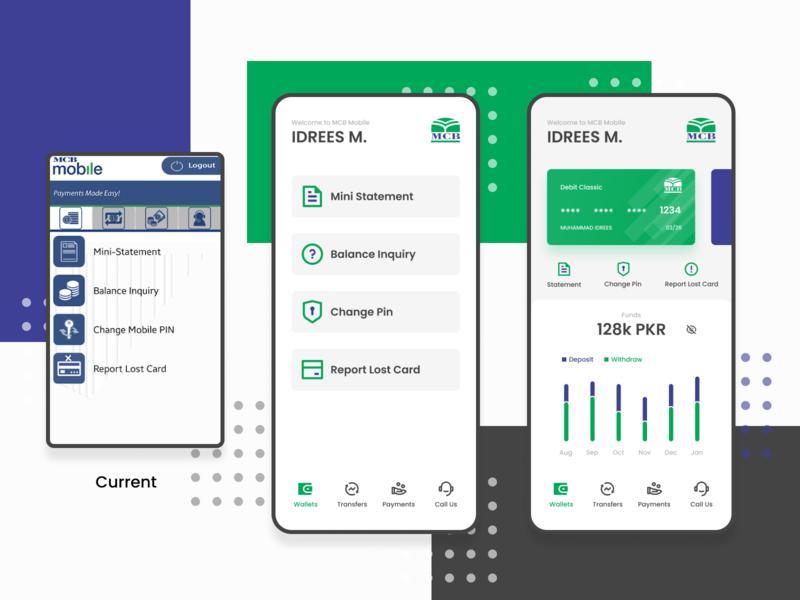 MCB Mobile App Redesign (Concept) bank online banking credit card wallet dashboard concept design funds banking app ux ui flat vector minimal design