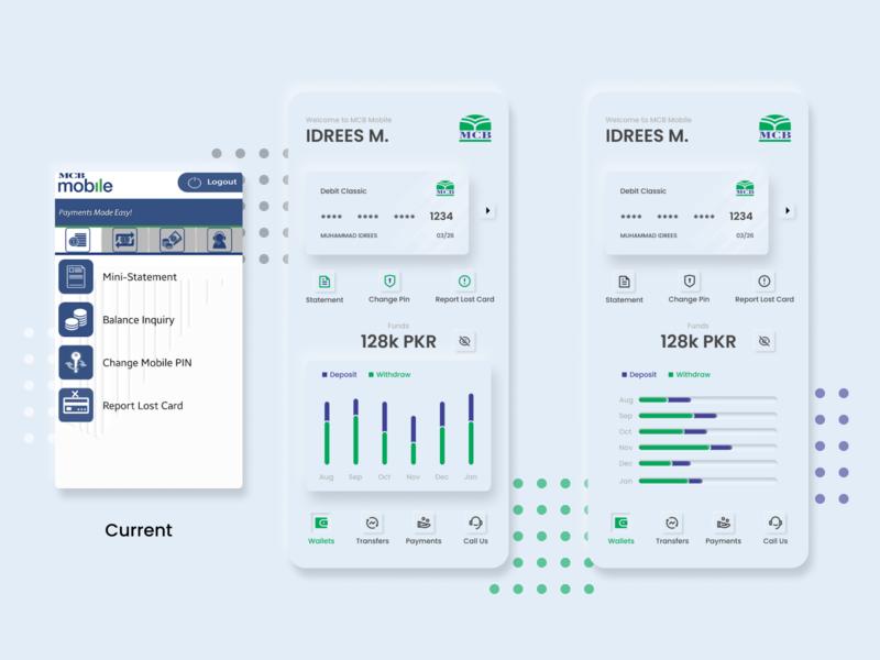 MCB Mobile App Redesign (Concept) concept design redesign concept figma neumorphism skeuomorphism mobile banking banking app bank app ux ui vector minimal design
