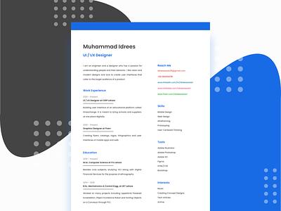 Resume print hire me hiring figma product designer resume design cv design resume web app ux ui flat vector minimal design