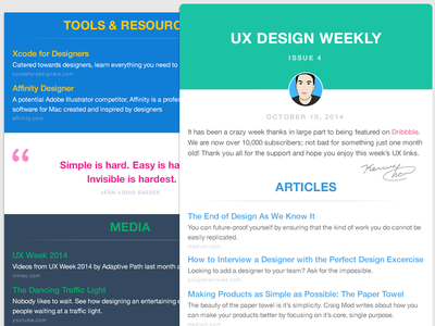 UX Design Weekly Email Newsletter  ux newsletter email design web subscribe flat layout user experience