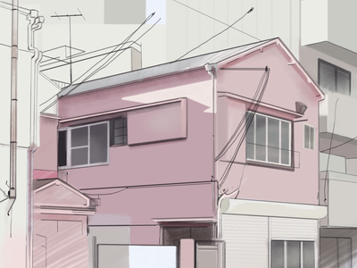 Urban Japanese Architecture contrast afternoon light afternoon cream pink japanese architecture japan city building urban pastel colours pastel digital sketch sketch design architecture digital 2d digital painting illustration adobe photoshop cc