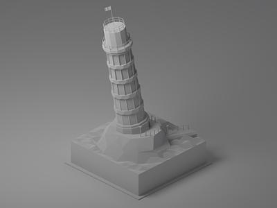 Italian Lighthouse: Clay italy tower pisa lighthouse clayrender joke lowpoly isometric modeling illustration blender
