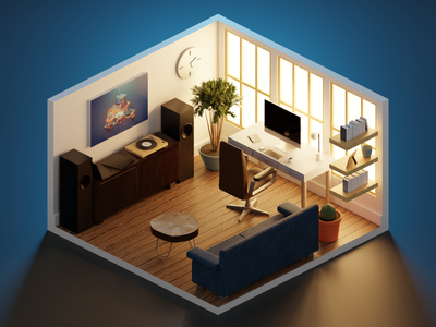 Polygon Runway: Home Office interior design chair computer coffee table cactus couch records desk stereo windows texture polygon runway warm home office lighting isometric modeling tutorial illustration blender