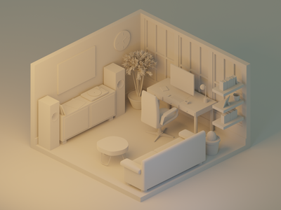 Home Office: Model Detail tree windows chair desk couch cactus records stereo office home office clay render design polygon runway lighting isometric modeling illustration blender