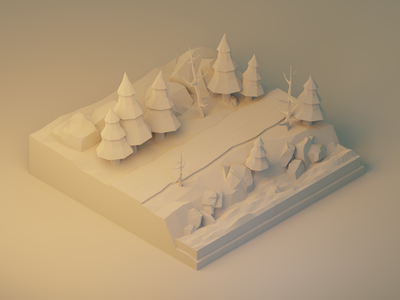 Forest Road: Model Detail diorama rocks road forest stream trees polygon runway lowpoly lighting isometric modeling illustration blender